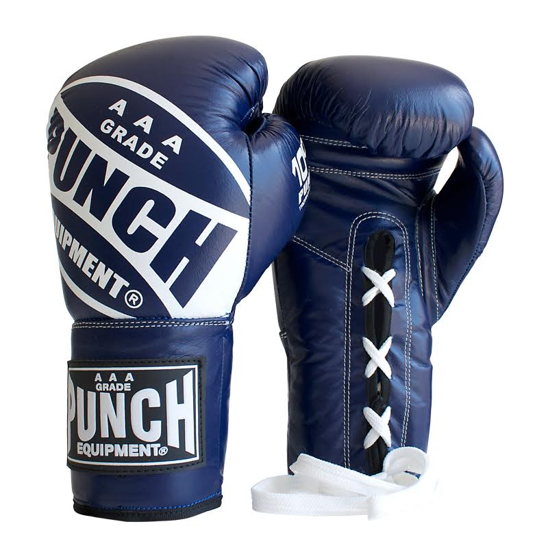 Blue Lace Up Boxing Gloves
