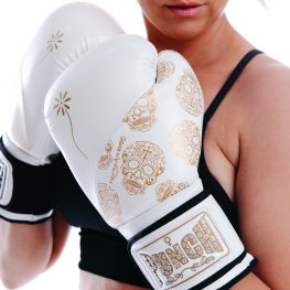 Womens Boxing Gloves White Gold Skull 2 V2