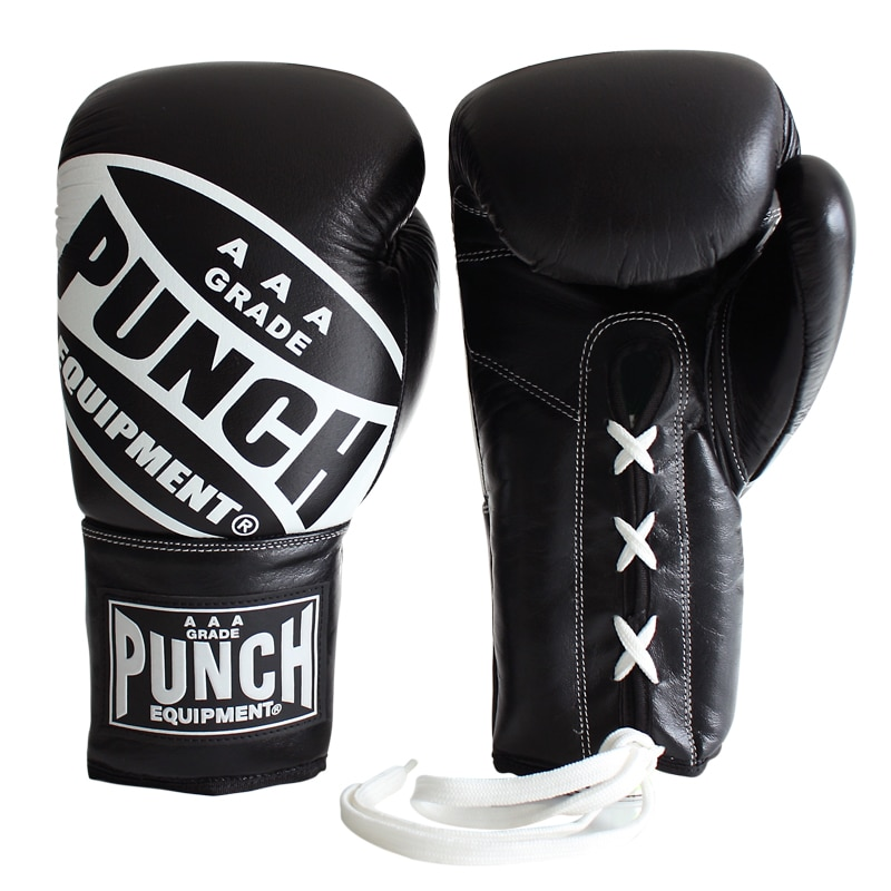 Black Lace Ups Boxing Gloves