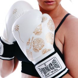 Lifestyle Skull Women Gloves White Gold