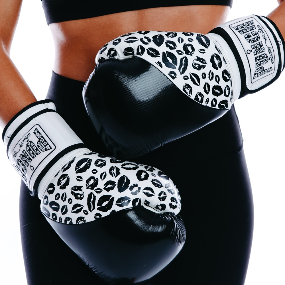 Womens Boxing Gloves Lip Art Black Punch Equipment 174 Usa