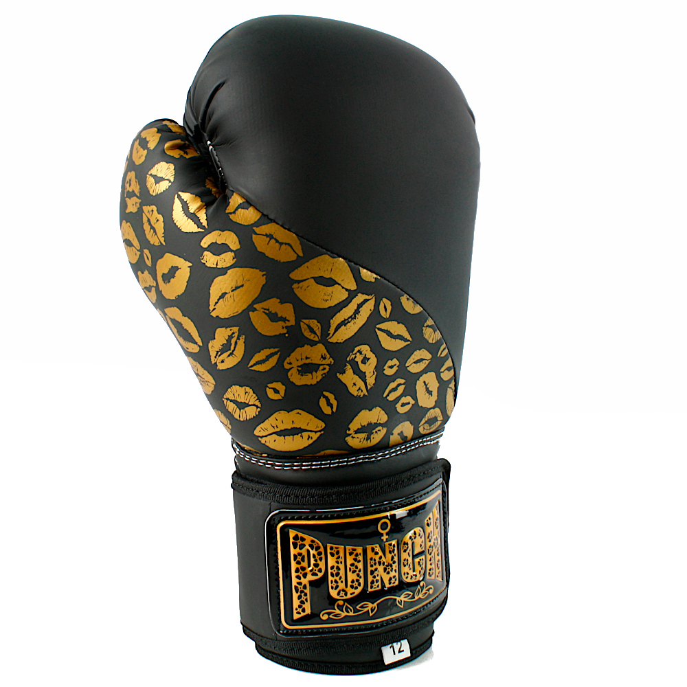 Matte Black Gold Lips Bling Boxing Gloves 1 1