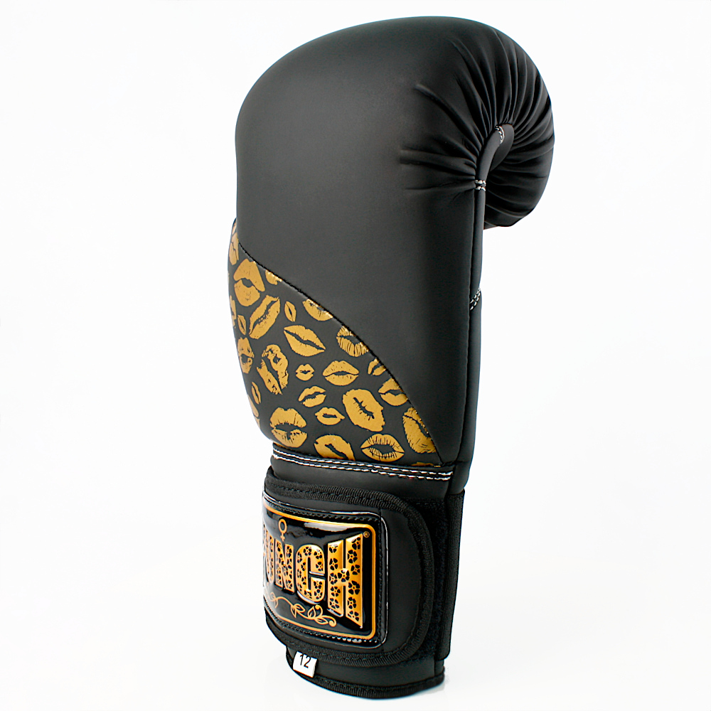 Matte Black Gold Lips Bling Boxing Gloves 2 1