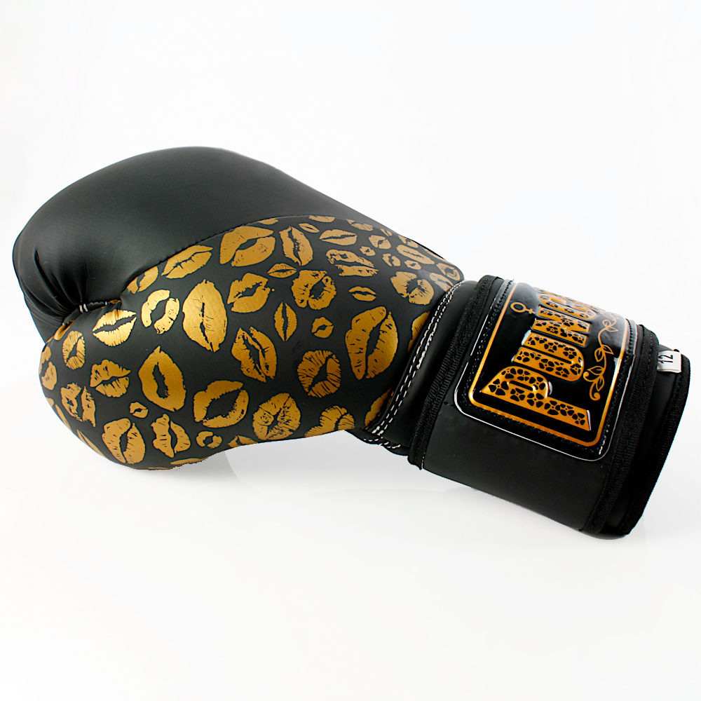Matte Black Gold Lips Bling Boxing Gloves 3 1