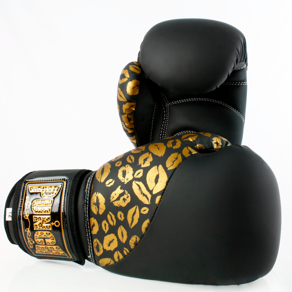 Matte Black Gold Lips Bling Boxing Gloves 5 1