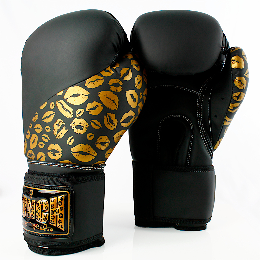 Matte Black Gold Lips Bling Boxing Gloves 6 1