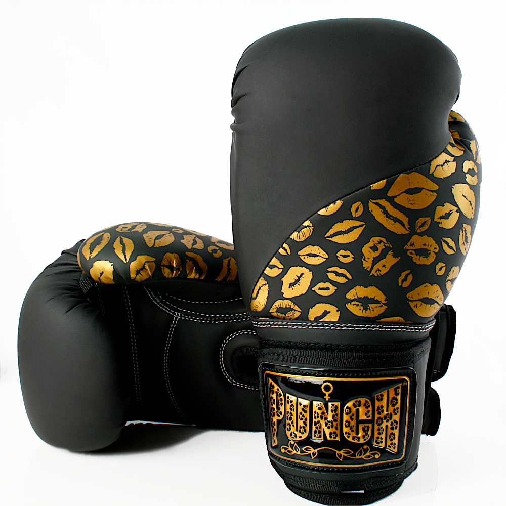 Matte Black Gold Lips Bling Boxing Gloves 7 1