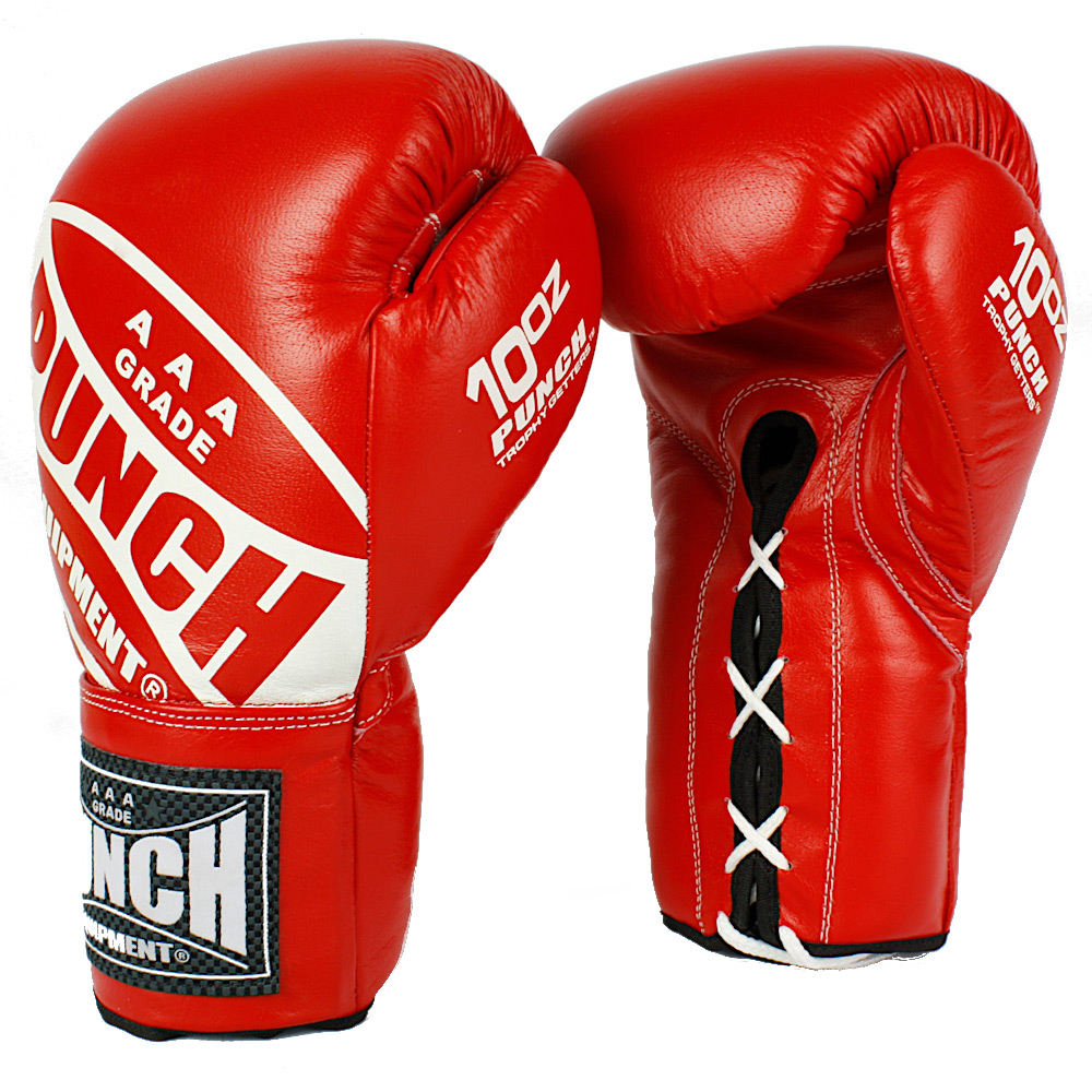 Punch Red Lace Up Boxing Gloves 2 1