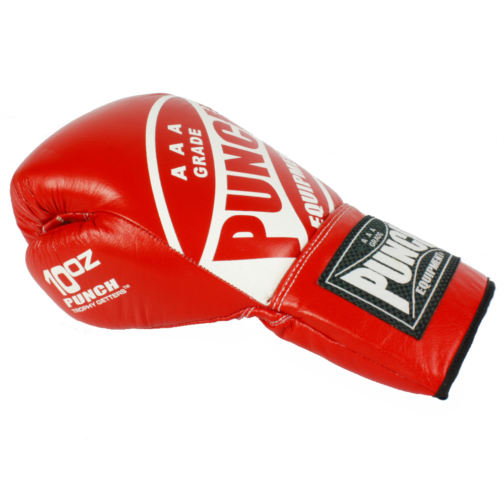 Punch Red Lace Up Boxing Gloves 2