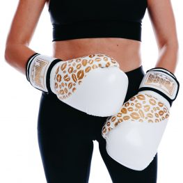 Womens Boxing Gloves White Gold Lips V2