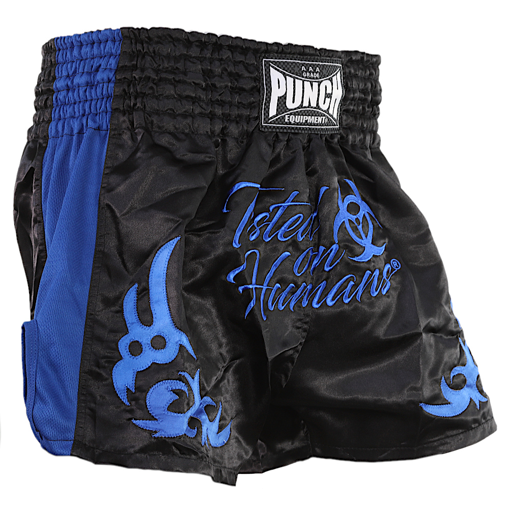 Blue Tested On Humans Muay Thai Shorts 1