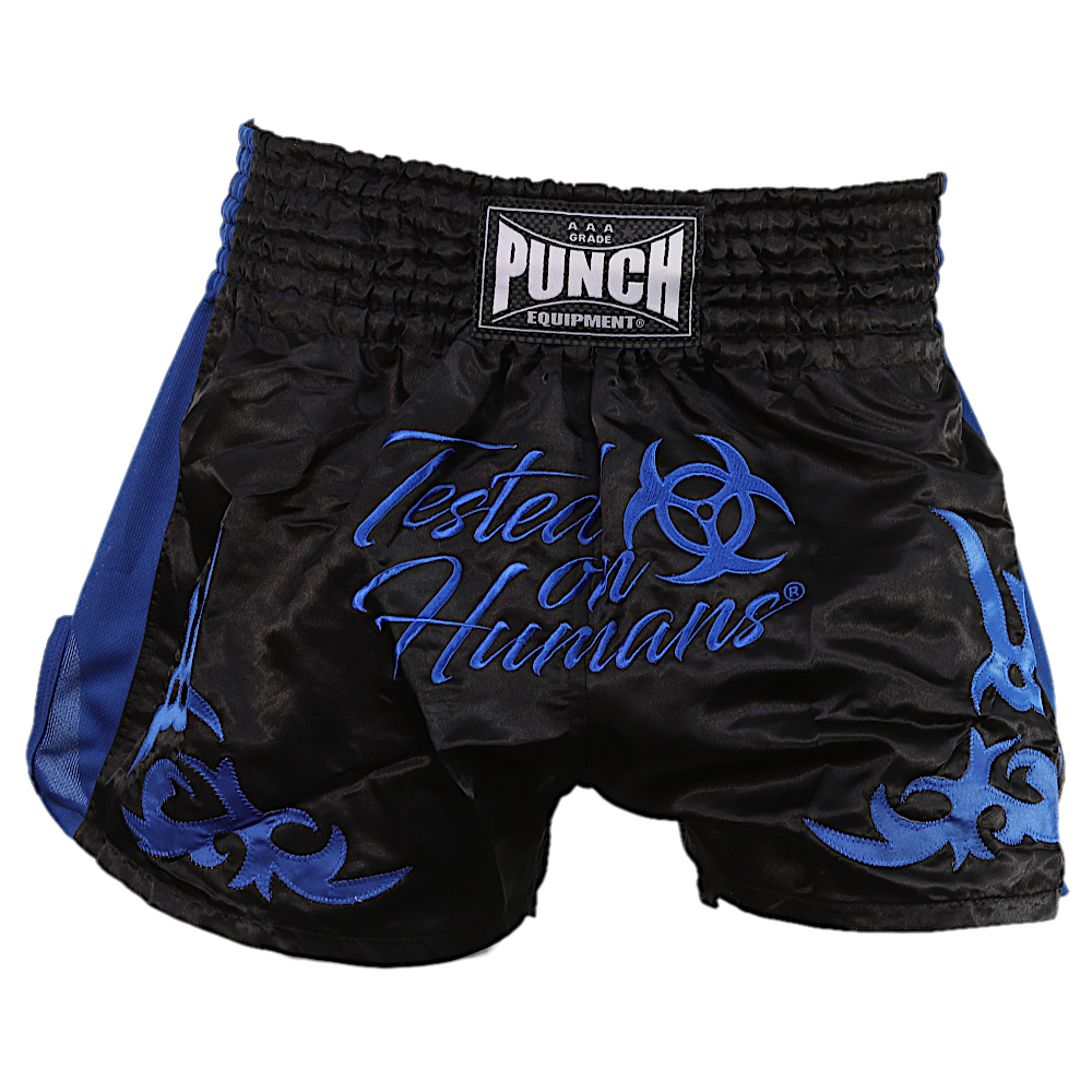 Blue Tested On Humans Muay Thai Shorts 3