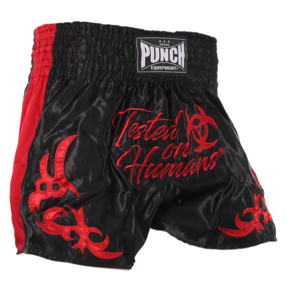 Red Tested On Humans Muay Thai Shorts 1