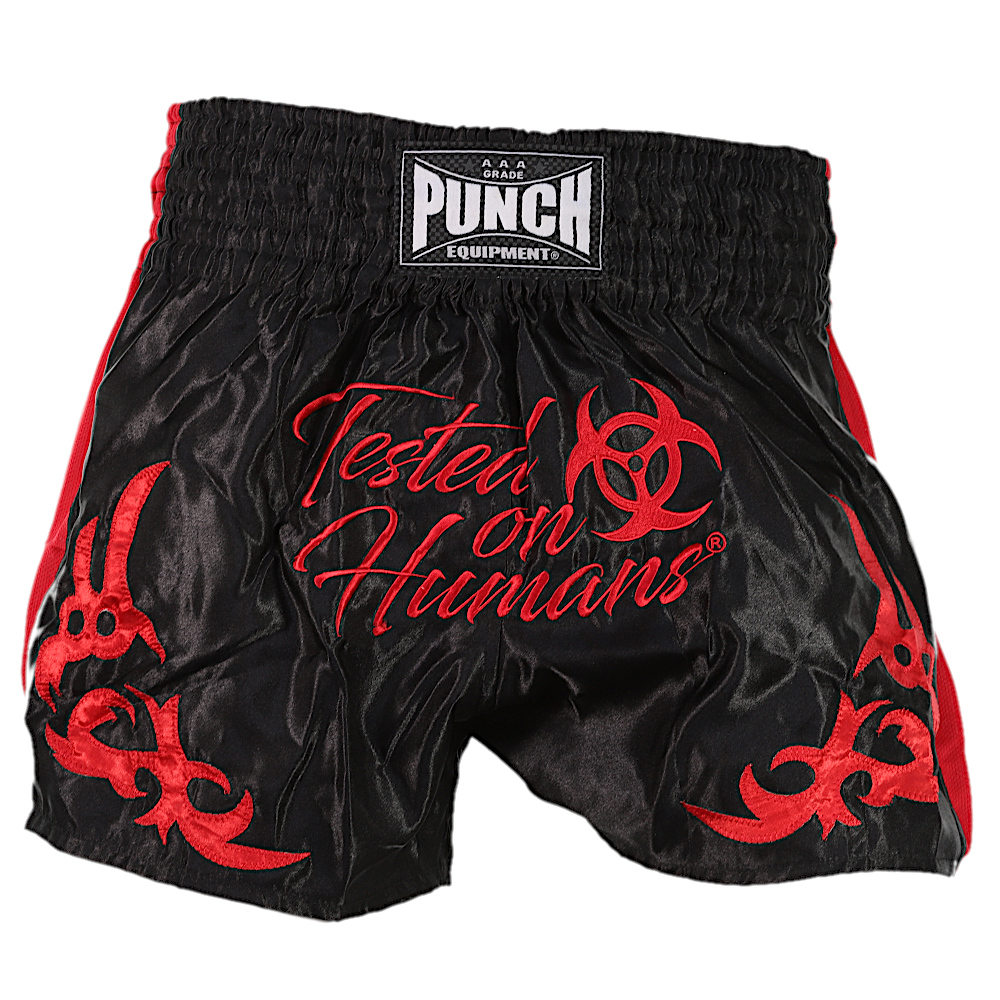 Red Tested On Humans Muay Thai Shorts 2
