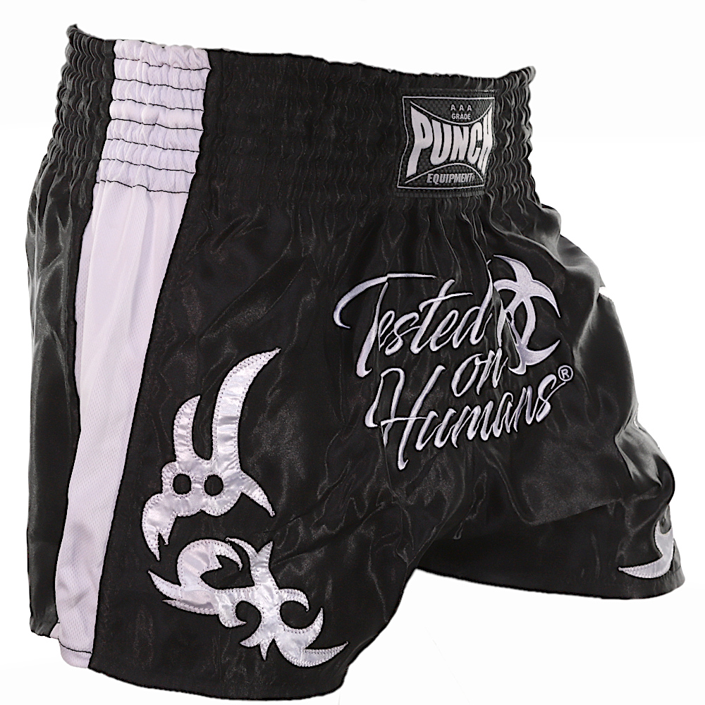 White Tested On Humans Muay Thai Shorts 2